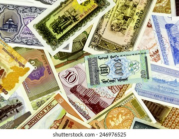 Closeup of paper money from all over the world
