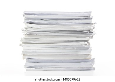 Close-up of papers stack isolated on a white background
