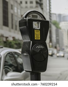Close-up of a parking meter.