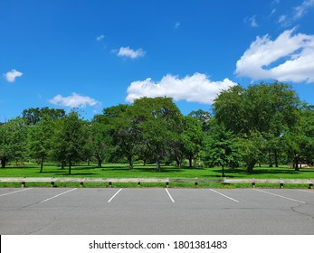 Closeup parking lot in the park