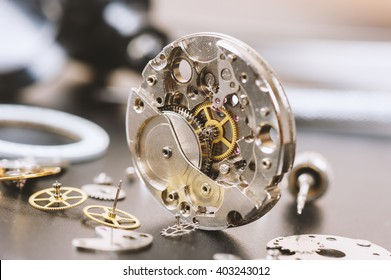 closeup the parts of automatic wristwatch