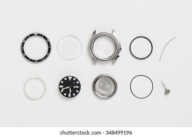 closeup the parts of watch