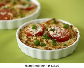 Closeup of a pasta dish.