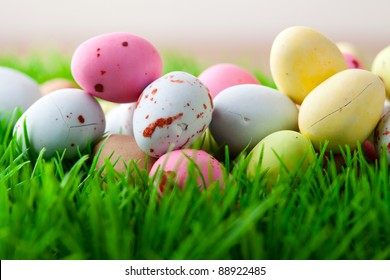 Close-up of pastel colored Easter eggs on grass