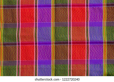closeup pattern and texture of loincloth Plaid Check fabric thai colourful silk style