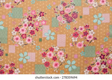 Closeup patterned fabric of Japan