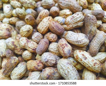 closeup of peanuts, also known as the groundnut, goober, or monkey nut.