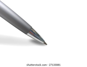 A closeup of a pen about to write something on a white background.