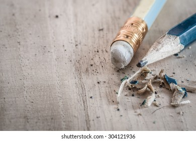 Closeup of pencil eraser on wooden table