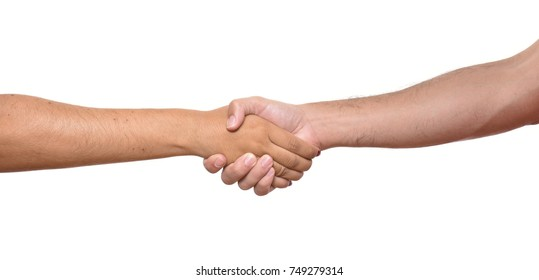 Closeup of people shaking hands isolated on white background.