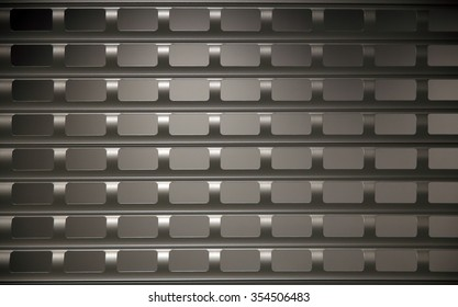 Closeup of perforated rolling shutter in backlight. Anti-vandal, anti-theft protection of shop window or entrance. Supporting composition on the subject of security technologies.