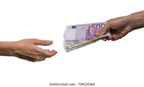 close-up of person hand giving money to other hand isolated on white background
