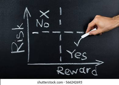 Close-up Of Person Hand Showing Risk-reward Diagram On A Blackboard
