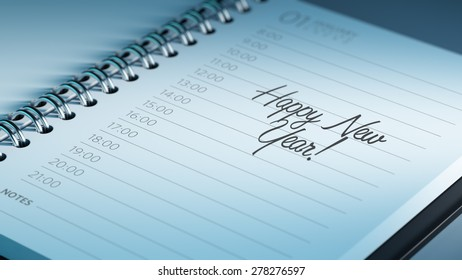 Closeup of a personal calendar setting an important date representing a time schedule. The words Happy New Year written on a white notebook to remind you an important appointment.