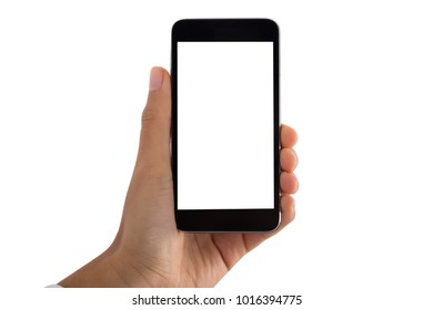 Close-up Of A Person's Hand Holding Mobile Phone With Blank Screen On White Background