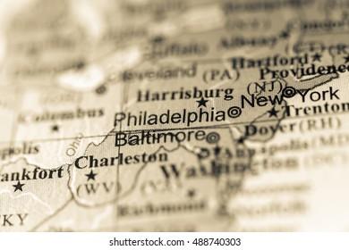 Closeup of Philadelphia, Pennsylvania on a political map of USA.