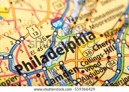 Closeup Philadelphia Pennsylvania On Political Map Stock Photo (Edit ...