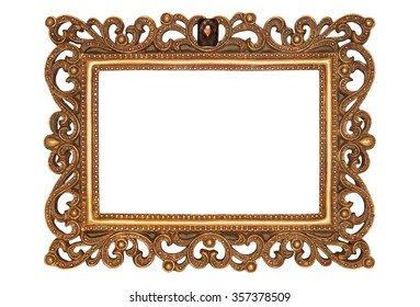 Close-up photo of ancient bronze frame isolated over white background. Clipping path included.