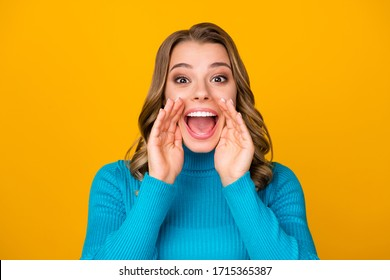 Closeup photo of attractive funny curly lady arms near mouth chatterbox person yelling novelty information people crowd wear casual blue warm turtleneck isolated yellow color background