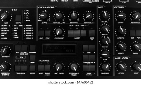 Closeup photo of an audio mixer in a studio