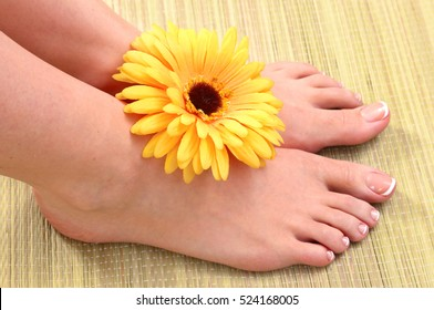 Closeup photo of a beautiful female feet with red pedicure