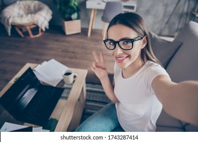 Closeup photo of beautiful funny pretty lady sit sofa work morning browsing notebook freelancer remote work home quarantine take selfies show v-sign symbol living room indoors