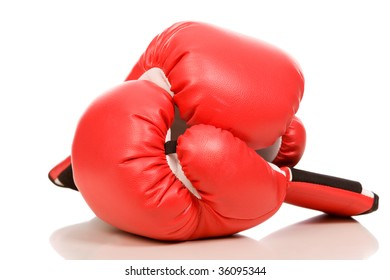 closeup photo of the boxing gloves with bounce on a white background