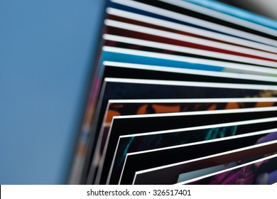 Closeup photo of colored book pages with shallow depth of field and nice copy space