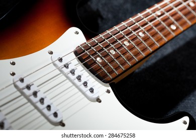 Close-up photo of electric guitar