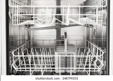 Close-up Photo Of An Empty Opened Dishwasher