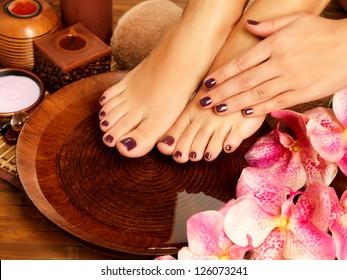 Closeup photo of a female feet at spa salon on pedicure procedure. Female  legs in