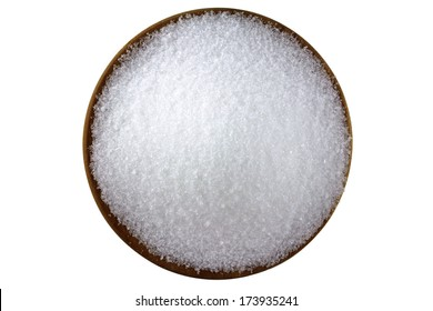 Closeup photo of fine Magnesium sulfate powder, also called Epsom salts in wooden bowl  isolated on white background