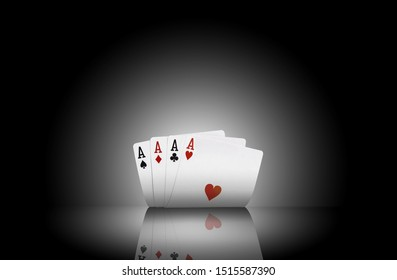 Close-up photo of four aces standing on a mirror surface with a backlight. Black background. Playing cards. Gambling entertainment.