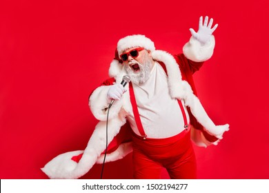 Closeup photo of funny funky wild vocalist screaming in microphone wearing fur coat gloves suspenders isolated bright background