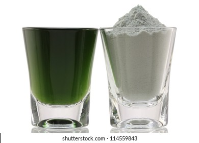 Closeup photo of glass of Chlorophyll Fine Powder and Mixed with Water, to boost immune system, isolated on white background