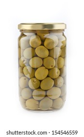 closeup photo of glass jar of green olives on white background