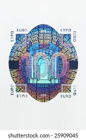 Closeup photo of the hologram of a hundred euro note. Macro photo.