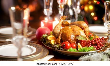 Closeup photo of hot freshly baked turkey on family festive dinner