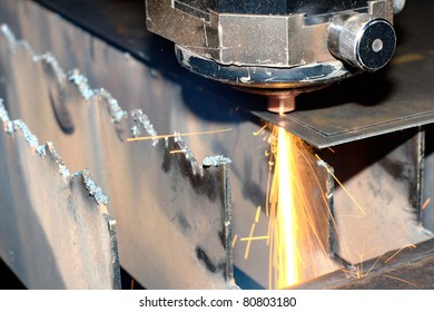Close-up photo of the industrial laser at work