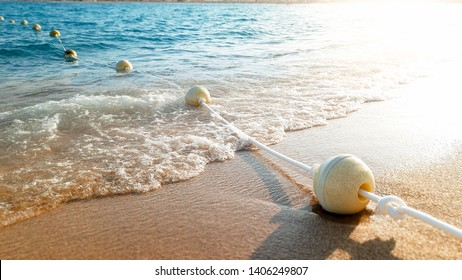 Closeup photo of line of floating buoys lying on the wet sand at sea shore