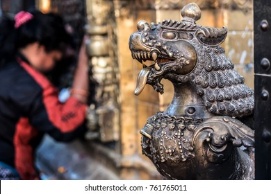 Close-up photo of lion bronze head statue at Bhaktapur Durbar Square, Nepal
