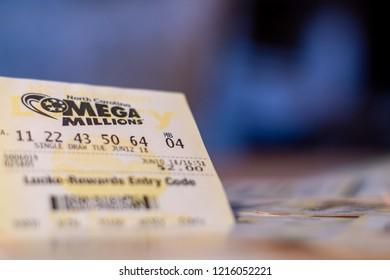 Closeup photo of lottery ticket of Mega Millions with copy space, North Carolina, USA. October 30, 2018