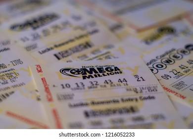 Closeup photo of lottery ticket of Mega Millions, North Carolina, USA. October 30, 2018