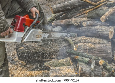 Close-up photo of the man with red chainsaw cutting the wooden log. Mans hands holding chainsaw.