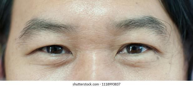 Close-up photo of man's eyes who looking at camera. Asian man's eyes