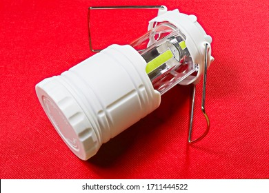 Close-up photo of a mini LED lantern for camping.disaster prevention goods.