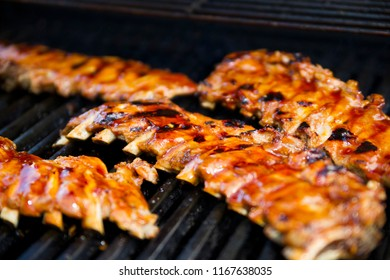 Closeup photo on beautiful juicy ribs on the grill
