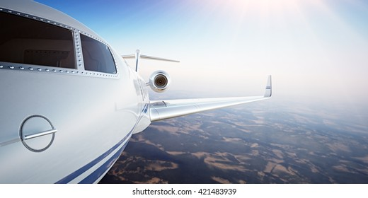 Closeup Photo Pilot Cabin White Luxury Generic Design Private Airplane Flying in Blue Sky at sunset.Uninhabited Desert Mountains Background.Business Travel Picture.Horizontal,Film Effect.3D rendering