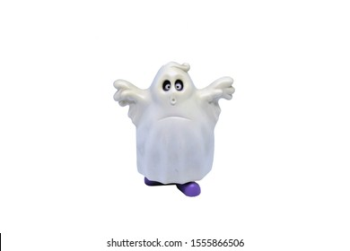 Closeup Photo of Plastic Ghost Toy Isolated on Perfect White