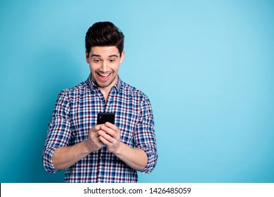 Close-up photo portrait of excited cheerful rejoicing ecstatic positive humorous follower finding funny picture of friend on instagram network isolated pastel background